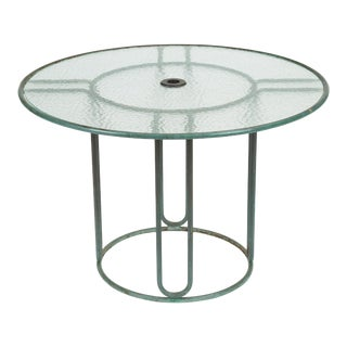 Round Bronze Patio Umbrella Dining Table by Walter Lamb for Brown Jordan For Sale