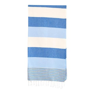 Contemporary Blue Turkish Hammam Bath Towel