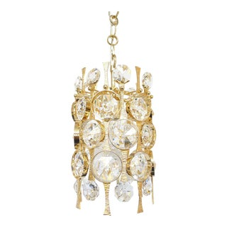 Gilt Brass & Crystal Pendant Light by Palwa For Sale