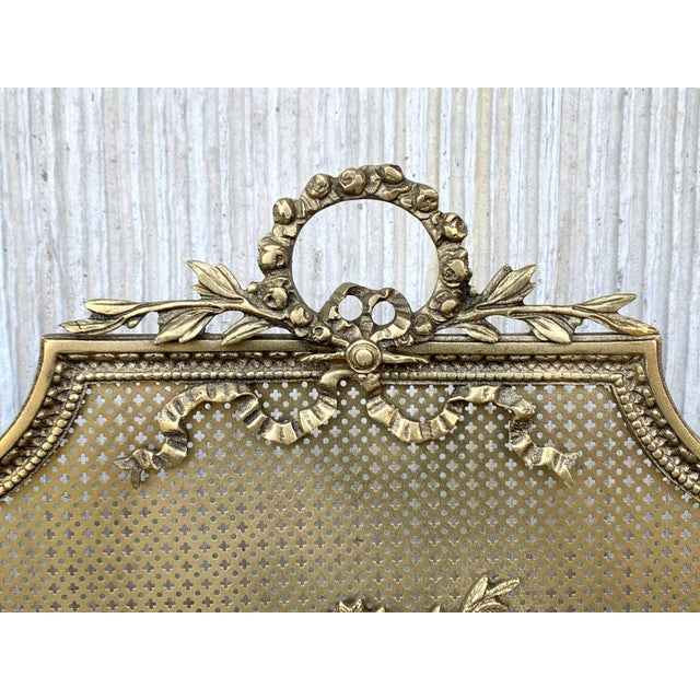 Mid 19th Century 19th Century French Louis XVI Style, Three-Panel Bronze Fire Screen For Sale - Image 5 of 9