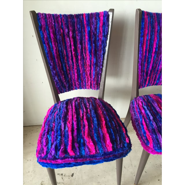 Vintage 1960s Furry Striped Accent Chairs - A Pair - Image 5 of 10
