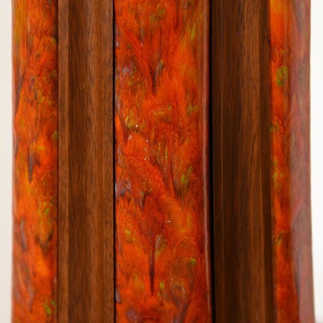 Mid 20th Century Mid-Century Walnut & Orange Enamel Lamp's, Pair For Sale - Image 5 of 10