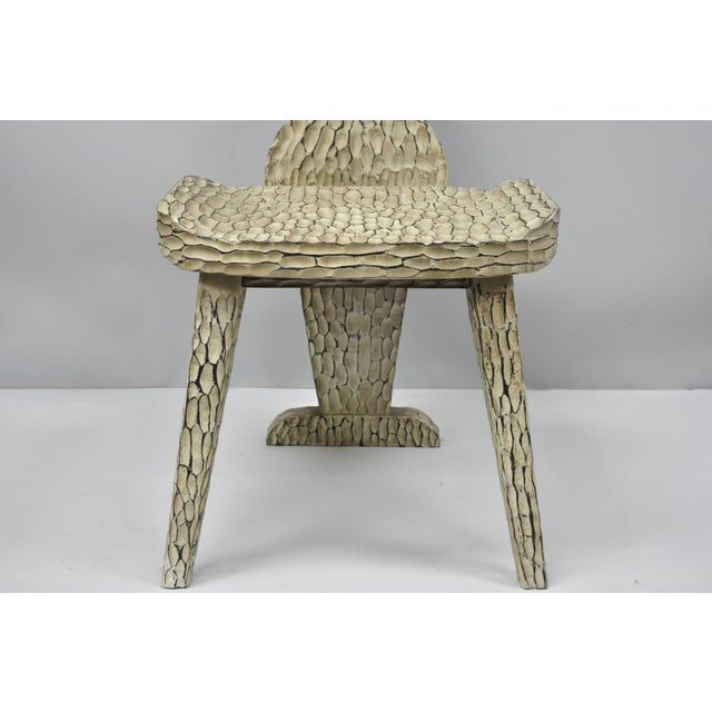 Contemporary Contemporary High Back Carved Wood Side Chair For Sale - Image 3 of 12