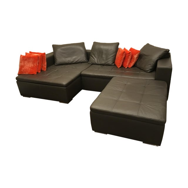 Leather Corner Sofa with Pillows - Image 1 of 7