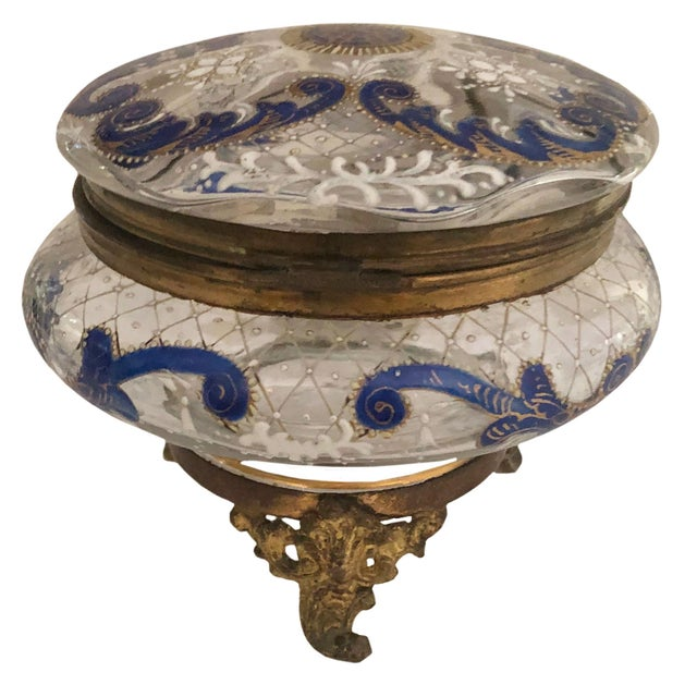 Early 20th Century Antique Bohemian Glass Trinket Dresser Box For Sale - Image 5 of 5