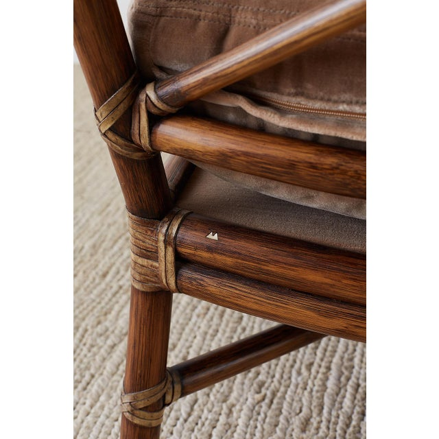 Pair of McGuire Bamboo Rattan Target Lounge Chairs For Sale - Image 9 of 13