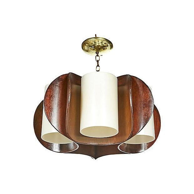 Mid-Century Modern 1960s Curved Walnut Wood Chandelier For Sale - Image 3 of 5