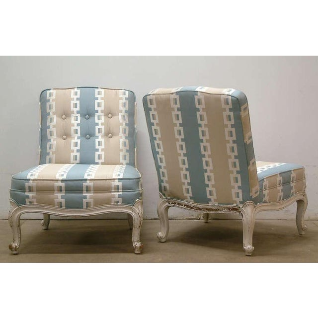 Circa 1950 French Provincial Drexel Blue, Cream and White With Anna French Cotton Twill Fabric Boudoir Chairs - a Pair - Image 3 of 11
