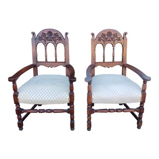 Pair 1940s Walnut Country Style Dining Room Armchairs ~ as Is ~ Paint Me! For Sale
