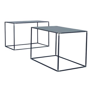 Minimalist 'Filiforme' Patinated Steel End Tables by Design Frères - a Pair For Sale