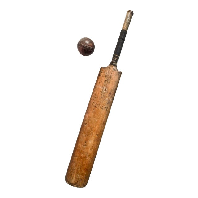 Vintage English Cricket Bat, Cricket Ball Captain - Image 1 of 7