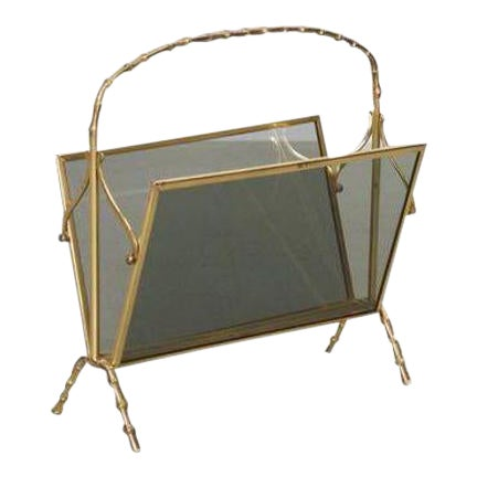 Maison Bagues Brass and Glass Faux Bamboo Magazine Rack For Sale