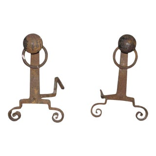 Antique Arts & Crafts Andirons - A Pair
