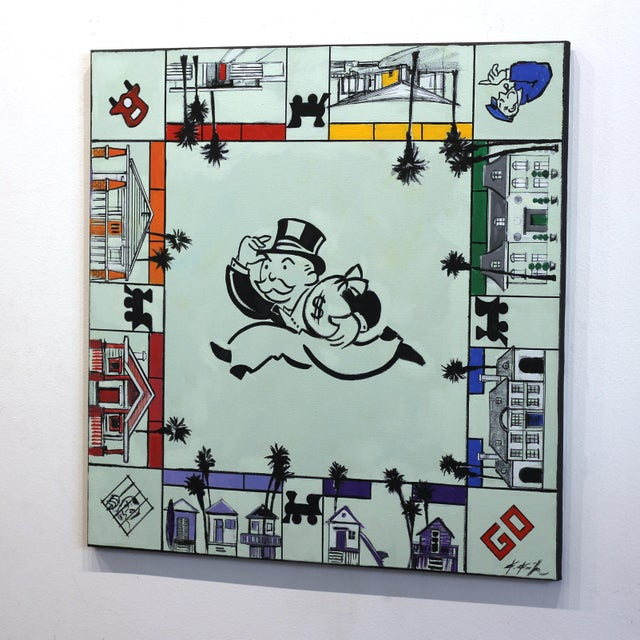 """Canvas Kathleen Keifer """"Uncle Pennybags Real Estate"""" Contemporary Painting For Sale - Image 7 of 9"""