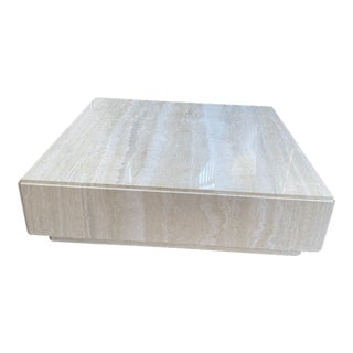 Travertine Square Plinth Cocktail Table For Sale