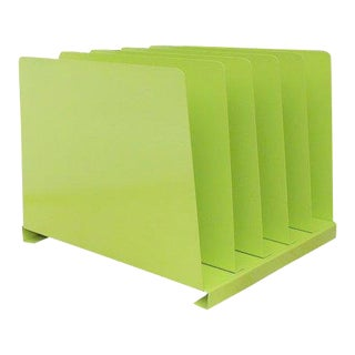 Vintage Lime Green Desk Office Organizer Metal File Album Rack For Sale