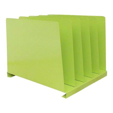 Vintage Lime Green Desk Office Organizer Metal File Album Rack For Sale