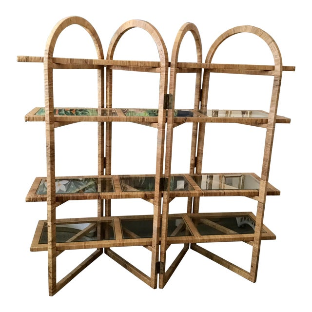Bielecky Brothers Rattan Arch Top Etagere For Sale