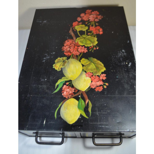 1970s Vintage Hand Painted Floral Filing Cabinet For Sale - Image 5 of 9
