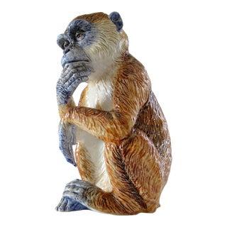 Vintage Italian Hand-Painted Signed Majolica Monkey