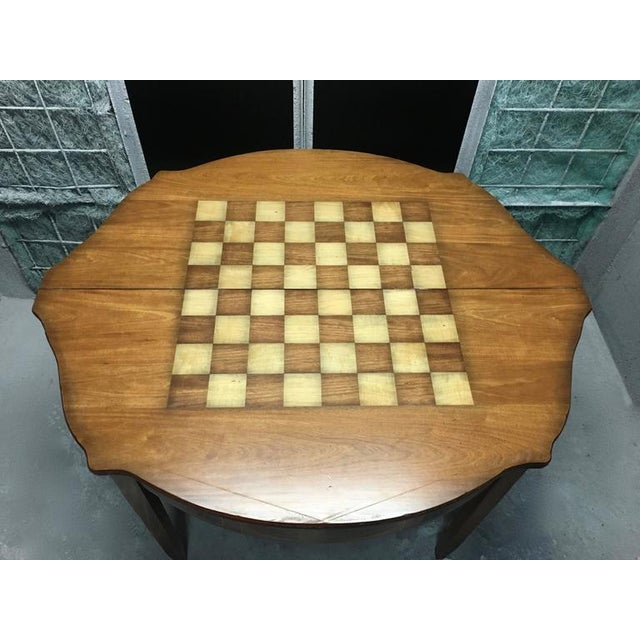 Mosaic Demilune Inlay Mahogany Folding Checker Game Table For Sale - Image 7 of 7