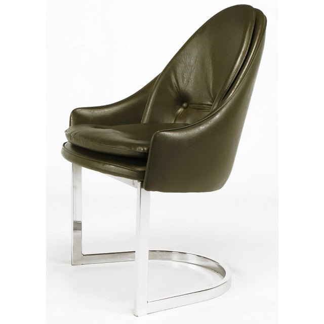 Four Cantilevered Chrome and Chocolate Brown Spoonback Dining Chairs For Sale - Image 4 of 7