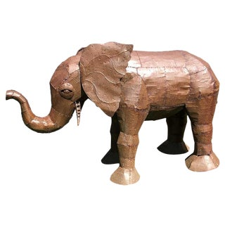 Metal Oxidized Elephant Sculpture For Sale