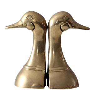 Mid-Century 1960s Brass Duck Bookends - A Pair