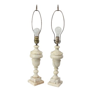 Neoclassical Alabaster Marble Table Lamps - A Pair