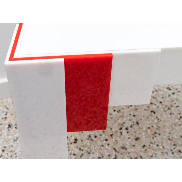 1970s Lucite Console Table Red and White 1970s Art Deco Revival For Sale - Image 5 of 13