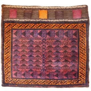 Antique Baluchi Nomadic Bag With Kilim Back For Sale