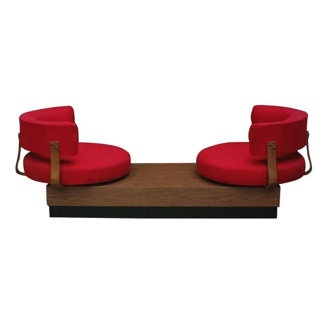 Mid-Century Modern 1970s Mid-Century Modern Red Swivel Lounge Chairs Sofa on Platform Base For Sale - Image 3 of 8