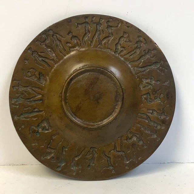 """French modern bronze Vide-Poche, dancing female nudes, with a 4-inch center bowl, stamped """"France""""."""