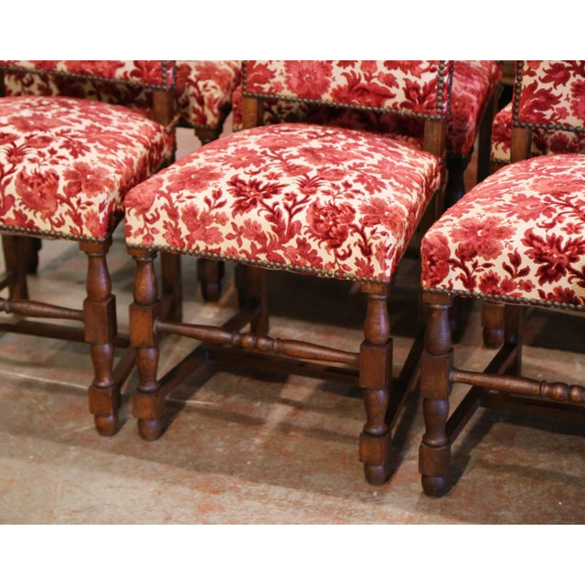 Wood Early 20th Century French Louis XIII Carved Oak Walnut Dining Chairs-Set of Six For Sale - Image 7 of 9