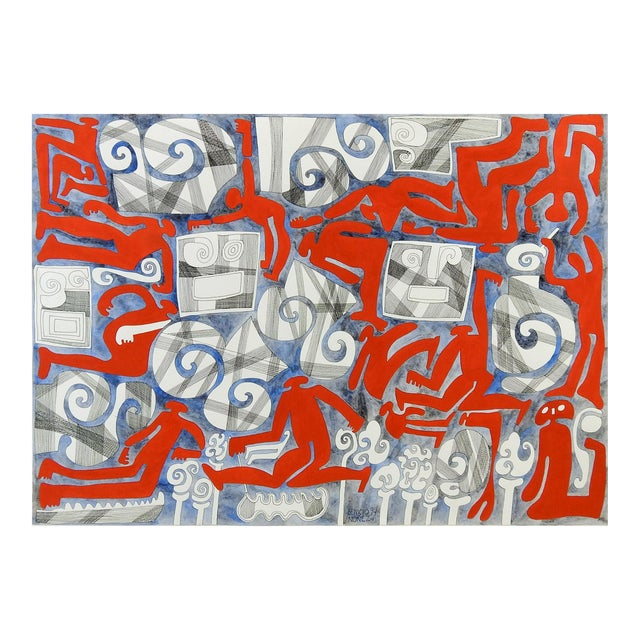Abstract Wind & Red Figures Painting by Benicio Nunez For Sale