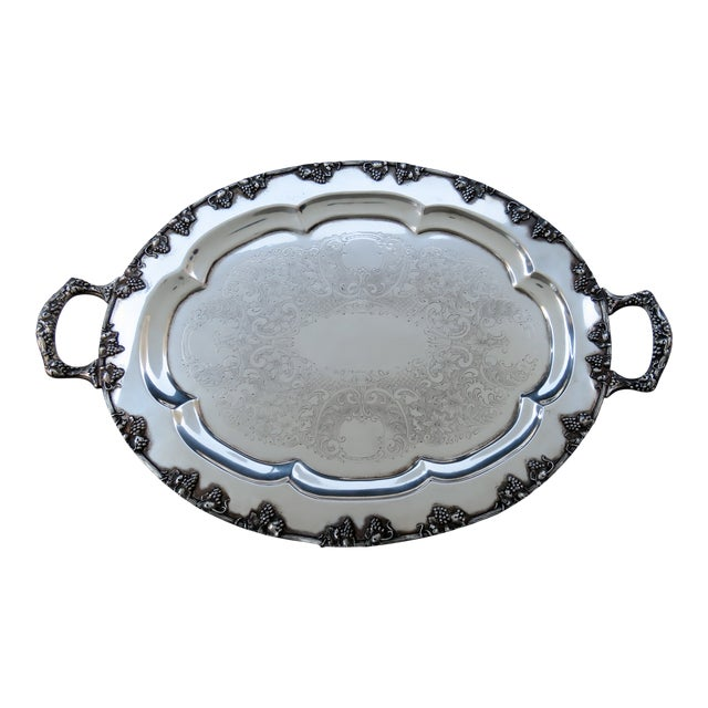 Vintage Silverplate Serving Tray For Sale