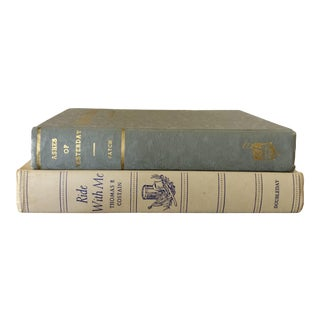 Vintage Neutral Tone Decorative Books — Set of 2 For Sale