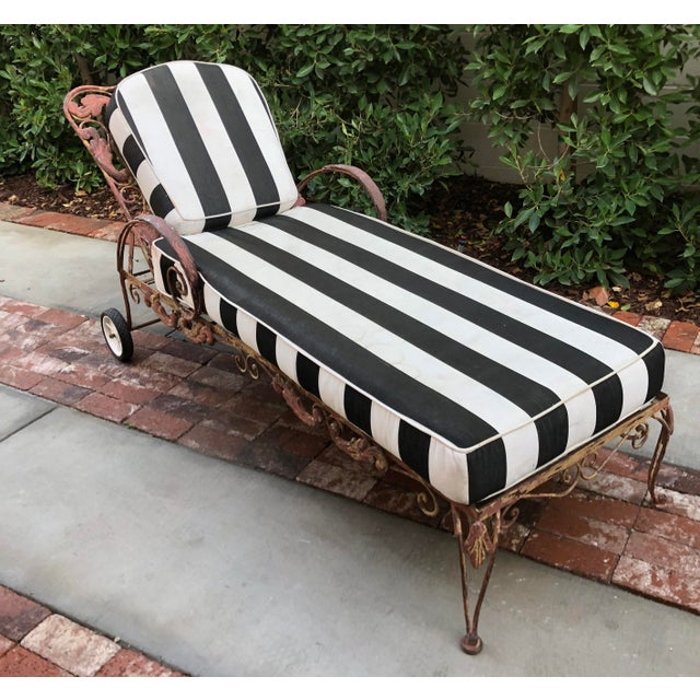 Mid Century Wrought Iron Outdoor Chaise Lounge Chair