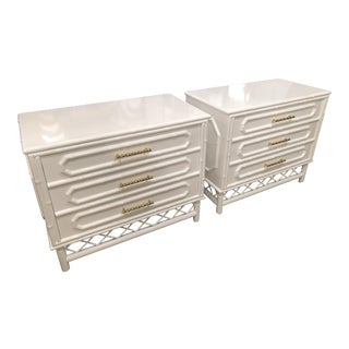 Vintage White Faux Bamboo Rattan Chests - A Pair For Sale