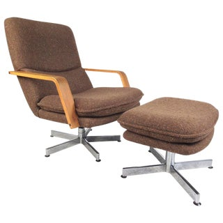 Mid-Century Modern Style Swivel Lounge Chair With Ottoman For Sale