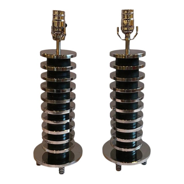 Mid-Century Modern Spinal Disk from Table Lamps in Chrome - A Pair For Sale