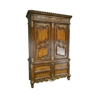 Marge Carson Monumental French Country Entertainment Armoire For Sale