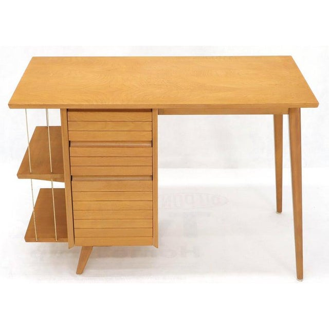 Mid-Century Modern petit light birch desk with bookcase and one file drawer. Unmarked in style of McCobb or Russel Wright....