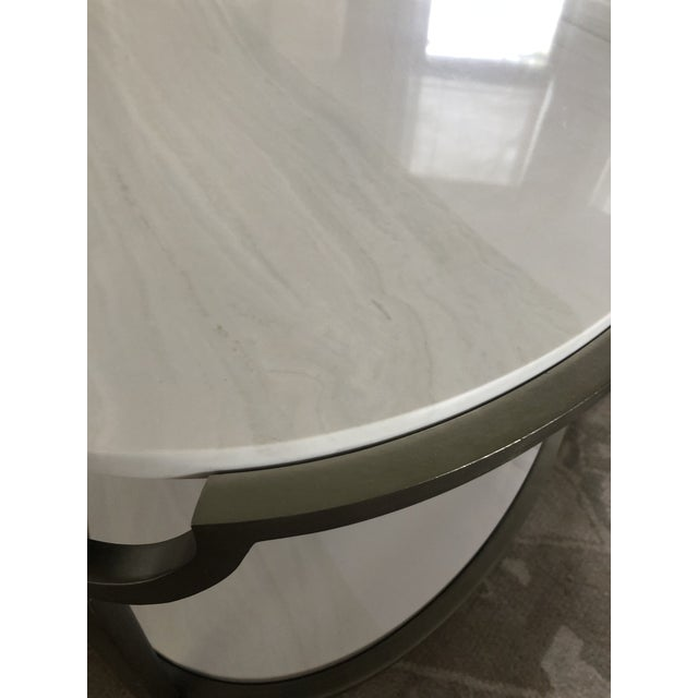 White Contemporary Oval Faux Marble and Steel Two Tier Coffee Table For Sale - Image 8 of 11
