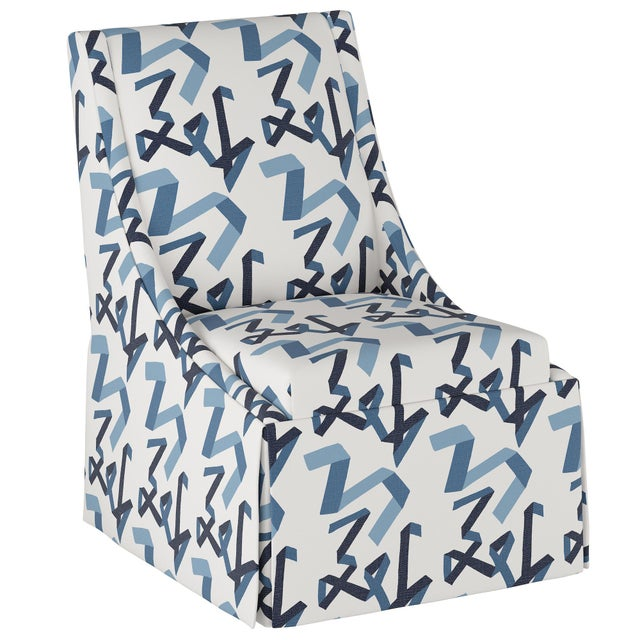 Textile Skirted Accent Chair in Navy Ribbon by Angela Chrusciaki Blehm for Chairish For Sale - Image 7 of 7