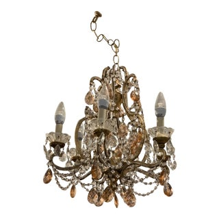 Early-20th Century 6-Light Gold Finish + Glass Chandelier For Sale