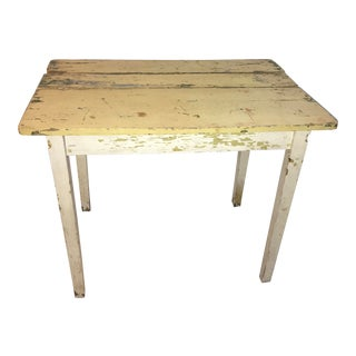 Rustic White Farm Side Table For Sale