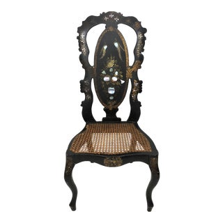 Early Victorian Black Lacquer and Mother of Pearl Wicker Side or Vanity Chair For Sale