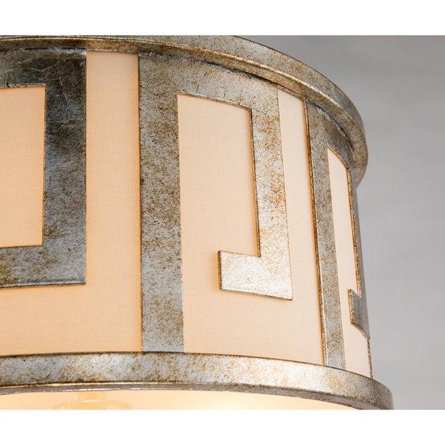 2010s Flora 2 Light Pendant - Semi Flush, Medium, Distressed Silver For Sale - Image 5 of 6