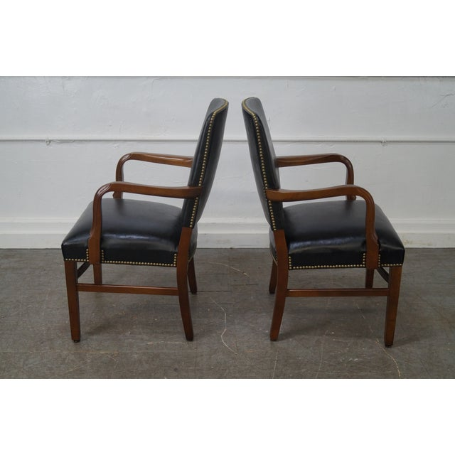 Gunlocke Traditional Black Office Arm Chairs - A Pair - Image 6 of 10